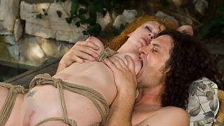 Audrey Hollander Blindfolded and Hung in Tree in BDSM Rope Bondage