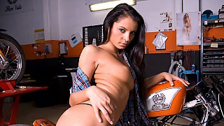 Lucy Belle Stops by Her Mans Bike Shop to Take a Ride on His Hard Dick