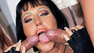 Valentine Demy Gets a Dick in Both Lower Cock Sockets in a MMF 3way DP